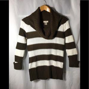 Arizona Jean Co Brown and white Cowl neck Sweater
